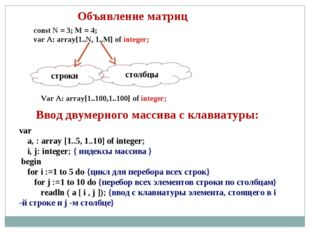 Объявление матриц const N = 3; M = 4; var A: array[1..N, 1..M] of integer; ст
