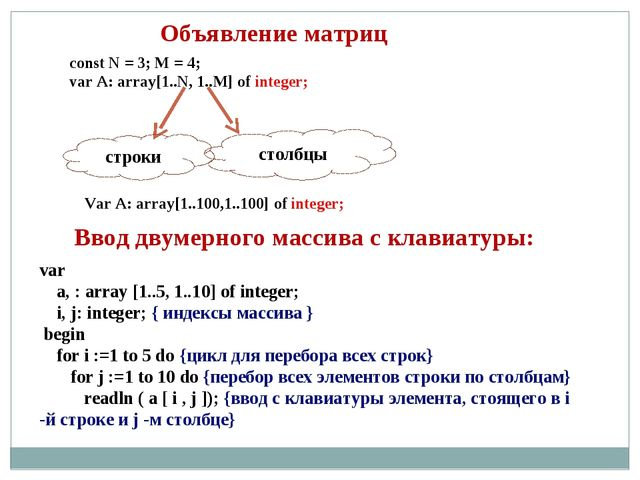 Объявление матриц const N = 3; M = 4; var A: array[1..N, 1..M] of integer; ст...