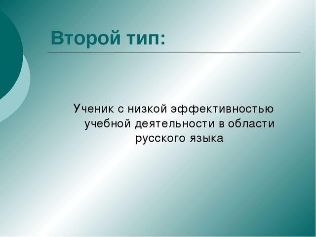 Второй тип: Ученик с низкой эффективностью учебной деятельности в области рус...