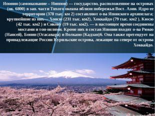 Япония (самоназвание – Ниппон) — государство, расположенное на островах (ок.
