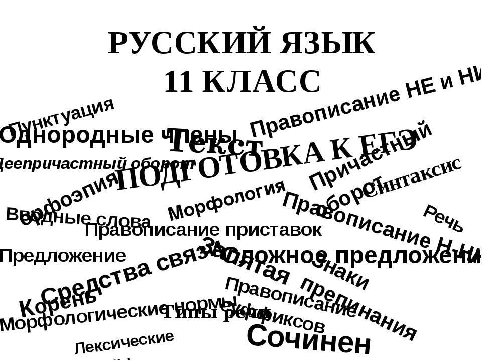 РУССКИЙ ЯЗЫК 11 КЛАСС Сочинение Правописание приставок Причастный оборот Лекс...