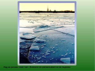 Лед на речках тоже тает. Вначале он раскалывается на льдины.