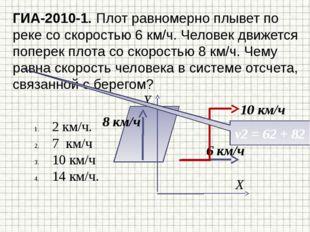 ГИА-2010-1. Плот равномерно плывет по реке со скоростью 6 км/ч. Человек движе