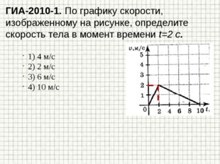 ГИА-2010-1. По графику скорости, изображенному на рисунке, определите скорост