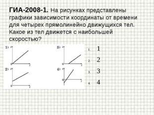ГИА-2008-1. На рисунках представлены графики зависимости координаты от времен