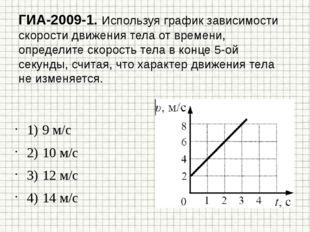 ГИА-2009-1. Используя график зависимости скорости движения тела от времени, о