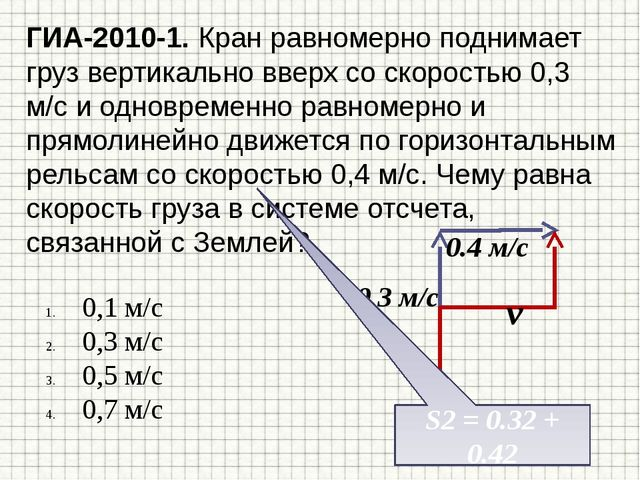 ГИА-2010-1. Кран равномерно поднимает груз вертикально вверх со скоростью 0,3...