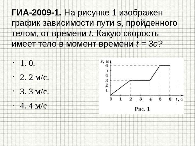 ГИА-2009-1. На рисунке 1 изображен график зависимости пути s, пройденного тел...