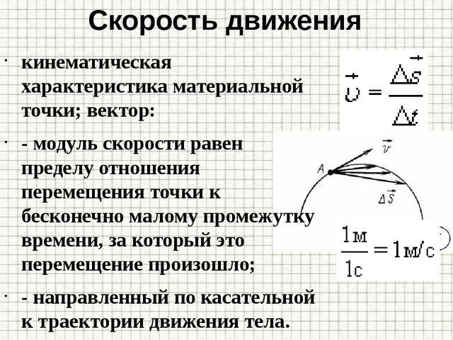 Скорость движения кинематическая характеристика материальной точки; вектор: -...