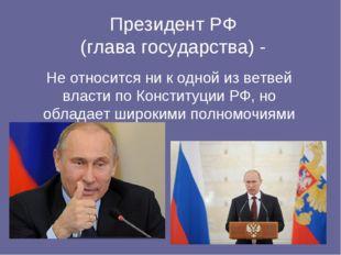 Президент РФ (глава государства) - Не относится ни к одной из ветвей власти п