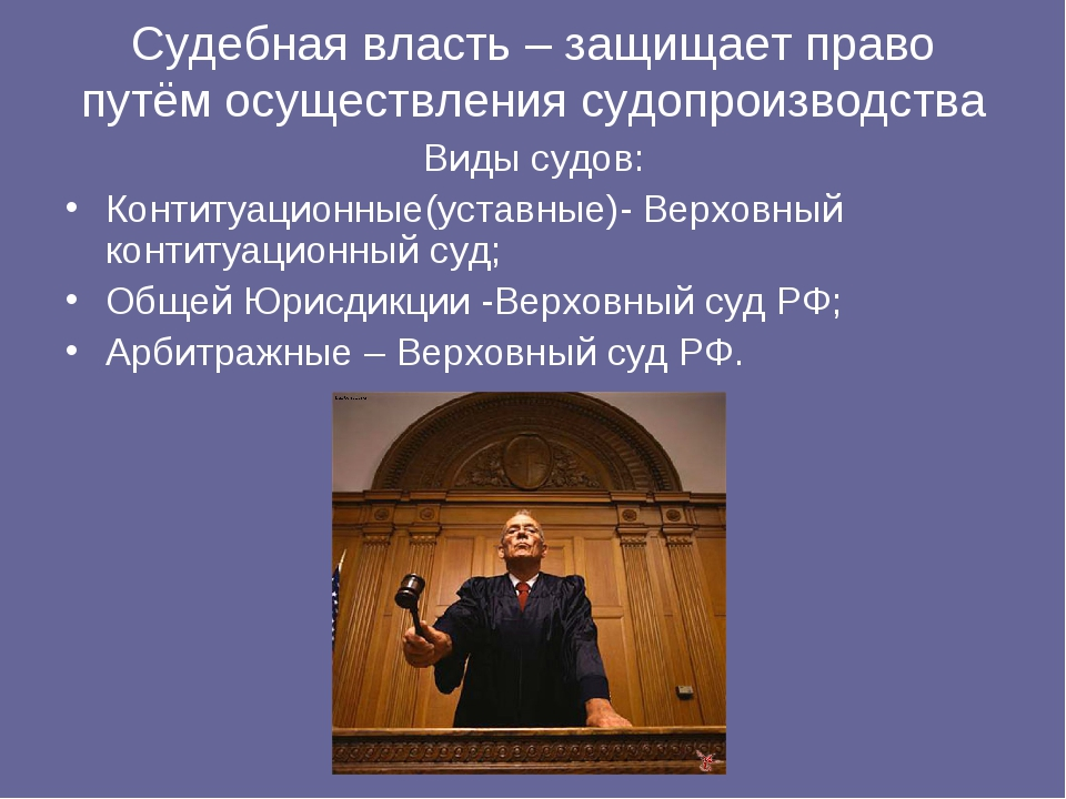 Судебная власть – защищает право путём осуществления судопроизводства Виды су...
