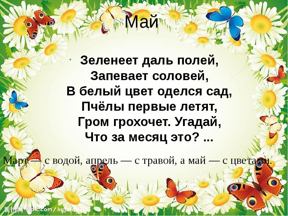 Май Зеленеет даль полей, Запевает соловей, В белый цвет оделся сад, Пчёлы пер...