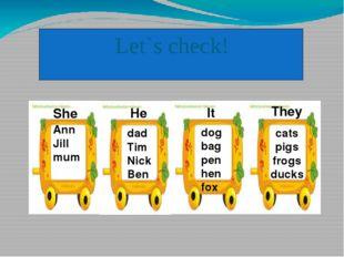 Let`s check! Ann Jill mum dad Tim Nick Ben dog bag pen hen fox cats pigs fro