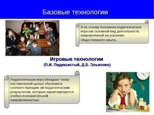 Игровые технологии (П.И. Пидкасистый, Д.Б. Эльконин) Базовые технологии В их