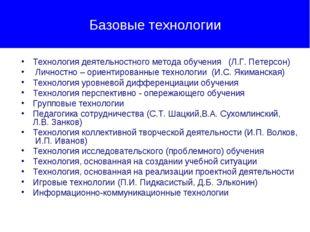 Базовые технологии Технология деятельностного метода обучения (Л.Г. Петерсон)