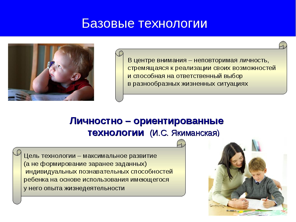 Личностно – ориентированные технологии (И.С. Якиманская) Базовые технологии...
