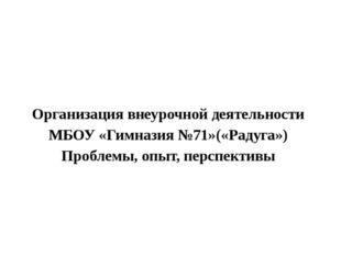 Организация внеурочной деятельности МБОУ «Гимназия №71»(«Радуга») Проблемы,