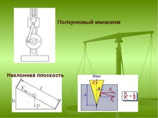 Ползунковый механизм Наклонная плоскость