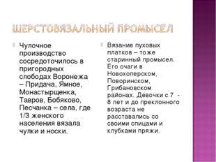 Чулочное производство сосредоточилось в пригородных слободах Воронежа – Прида