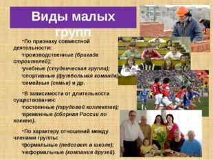 Виды малых групп По признаку совместной деятельности: производственные (брига