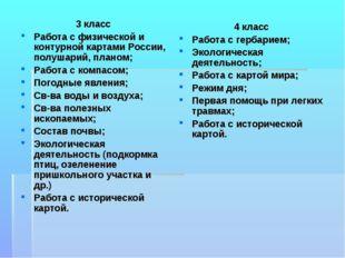 3 класс Работа с физической и контурной картами России, полушарий, планом; Ра