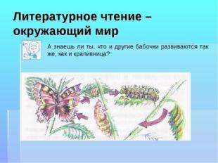 Литературное чтение – окружающий мир А знаешь ли ты, что и другие бабочки раз