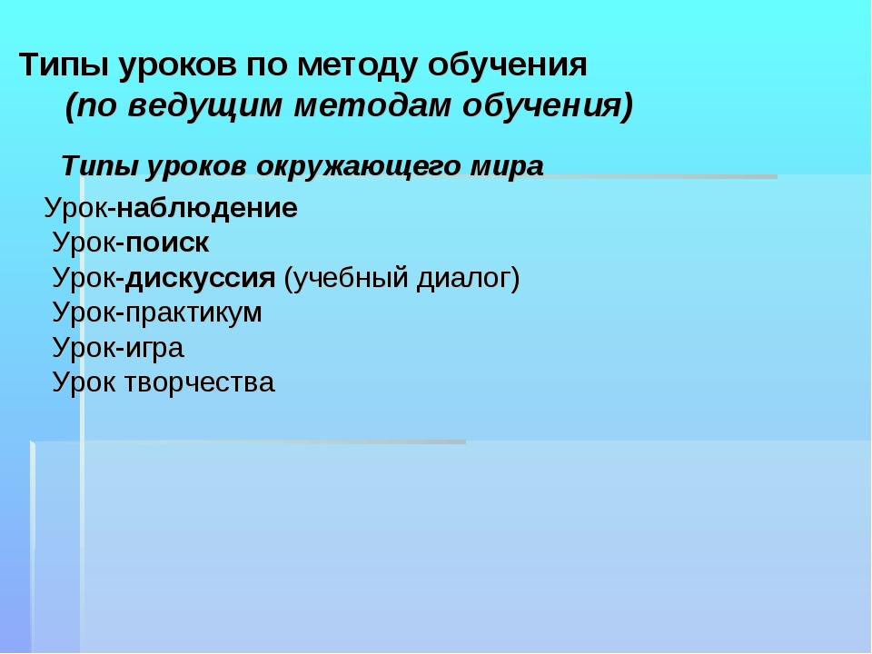 Типы уроков по методу обучения (по ведущим методам обучения) Типы уроков окр...