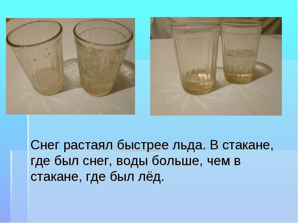 Снег растаял быстрее льда. В стакане, где был снег, воды больше, чем в стакан...