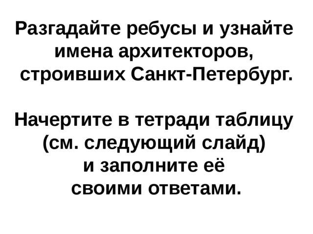 Разгадайте ребусы и узнайте имена архитекторов, строивших Санкт-Петербург. На...