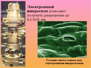 Электронный микроскоп позволяет получить разрешение до 0,1-0,01 нм. Устьице