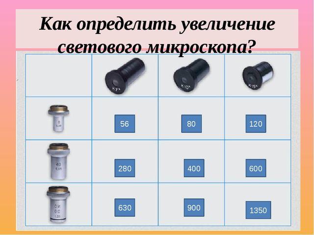 56 80 120 280 400 600 630 900 1350 Как определить увеличение светового микрос...