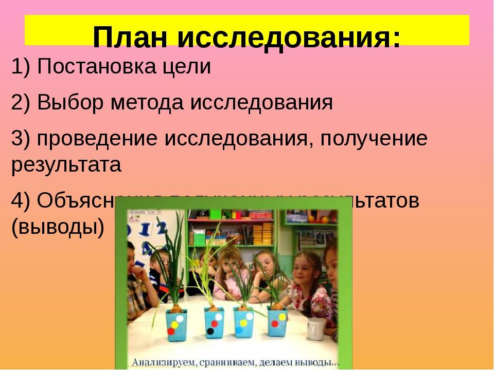 План исследования: 1) Постановка цели 2) Выбор метода исследования 3) проведе...