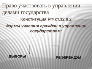 Право участвовать в управлении делами государства Конституция РФ ст.32 п.2 Фо