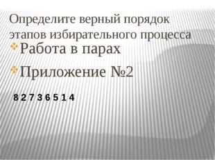 Определите верный порядок этапов избирательного процесса Работа в парах Прило