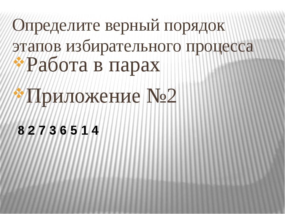 Определите верный порядок этапов избирательного процесса Работа в парах Прило...