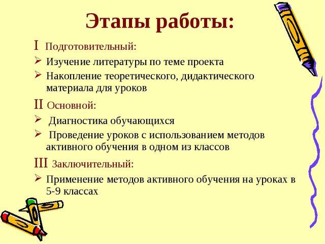 Этапы работы: I Подготовительный: Изучение литературы по теме проекта Накопле...