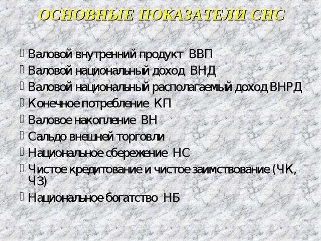ОСНОВНЫЕ ПОКАЗАТЕЛИ СНС Валовой внутренний продукт ВВП Валовой национальный д...