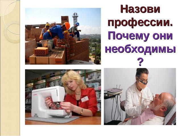 Назови профессии. Почему они необходимы?