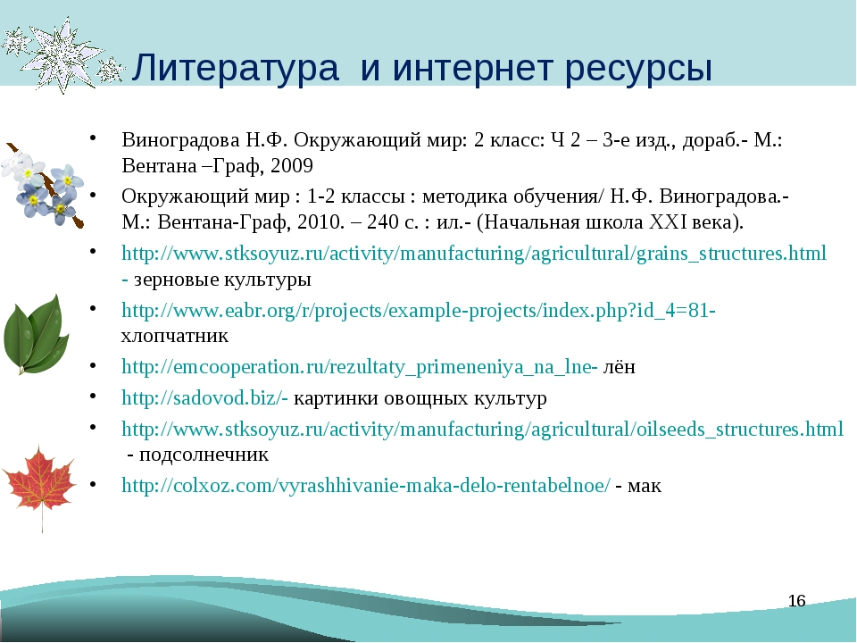 Литература и интернет ресурсы Виноградова Н.Ф. Окружающий мир: 2 класс: Ч 2 –...