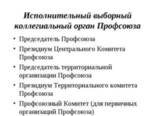 Исполнительный выборный коллегиальный орган Профсоюза Председатель Профсоюза