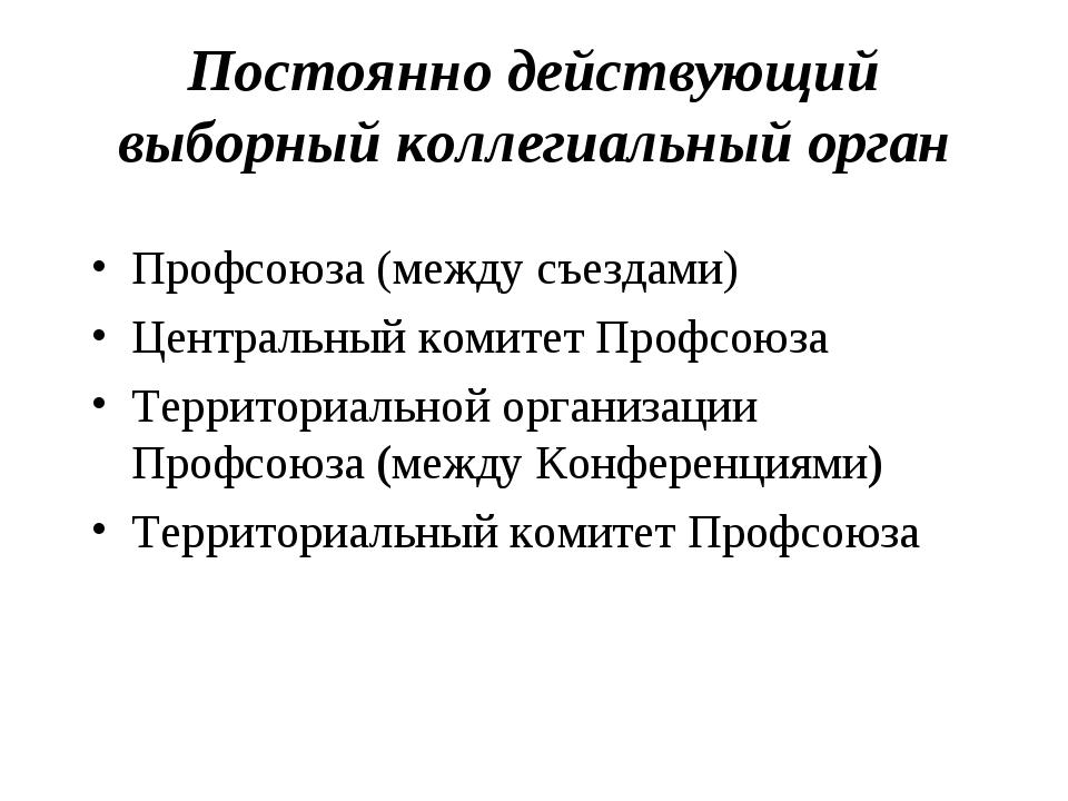 Постоянно действующий выборный коллегиальный орган Профсоюза (между съездами)...