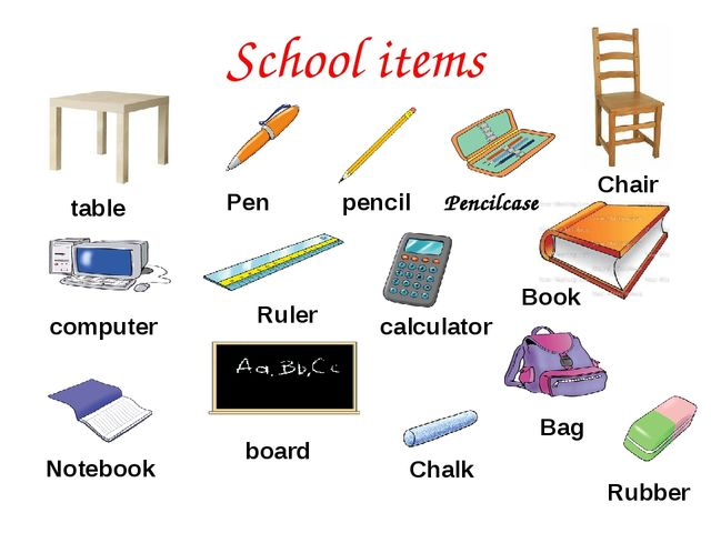 School items Chalk pencil Pen calculator Notebook Pencilcase Rubber Book Chai...