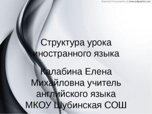 Структура урока иностранного языка Калабина Елена Михайловна учитель английск