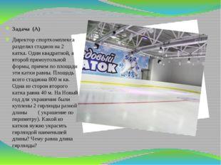 Задача (А) Директор спорткомплекса разделил стадион на 2 катка. Один квадрат