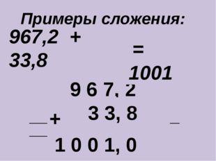 967,2 + 33,8 ____________________________ + 9 6 7, 2 3 3, 8 1 0 0 1, 0 = 1001