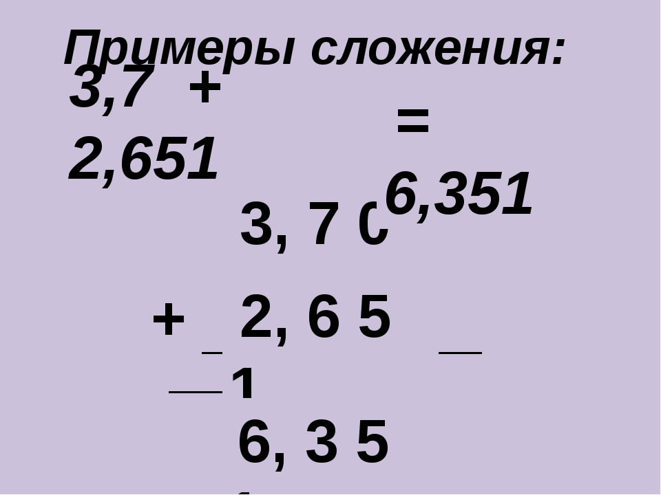 Примеры сложения: ____________________ + 3, 7 0 0 2, 6 5 1 6, 3 5 1 = 6,351 3...