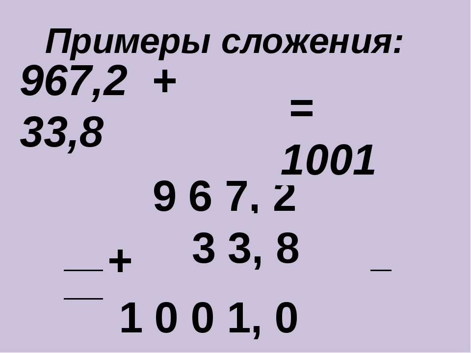 967,2 + 33,8 ____________________________ + 9 6 7, 2 3 3, 8 1 0 0 1, 0 = 1001...