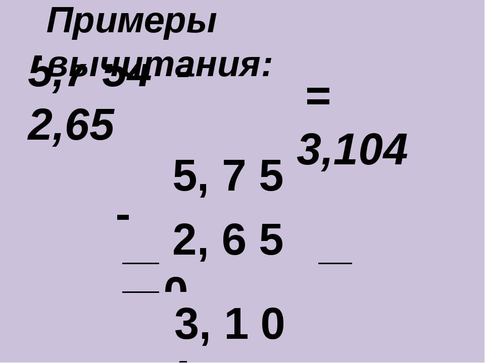 5,7 54 - 2,65 ____________________ - 5, 7 5 4 2, 6 5 0 3, 1 0 4 = 3,104 Приме...