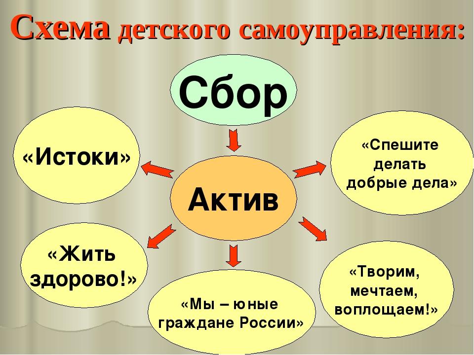 Схема детского самоуправления: Актив «Мы – юные граждане России» «Жить здоров...