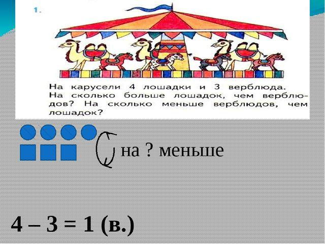 4 – 3 = 1 (в.) Ответ: на 1 верблюда меньше. на ? меньше